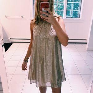 LUSH GOLD FOIL A LINE MINI DRESS DRESS